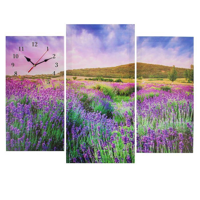 Часы настенные модульные «Цветочное поле», 60 × 80 см