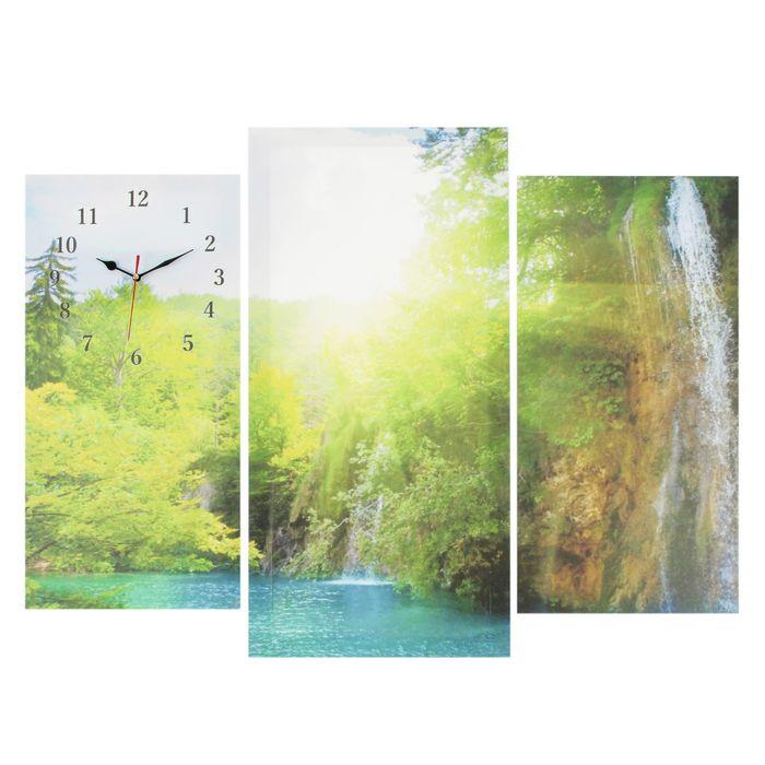 Часы настенные модульные «Озеро в горах», 60 × 80 см