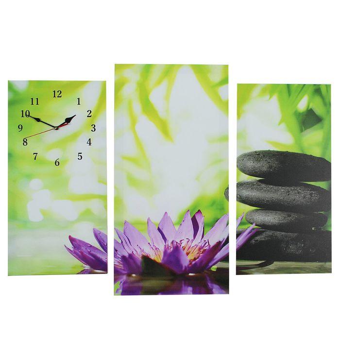 Часы настенные модульные «Цветок и камни», 60 × 80 см
