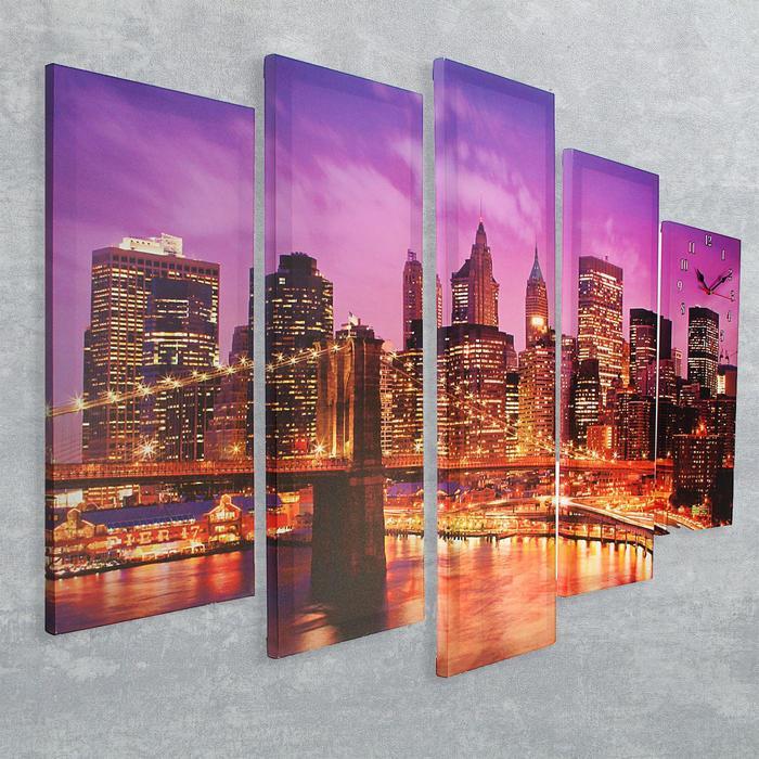 Часы настенные модульные «Огни вечернего города», 80 × 140 см