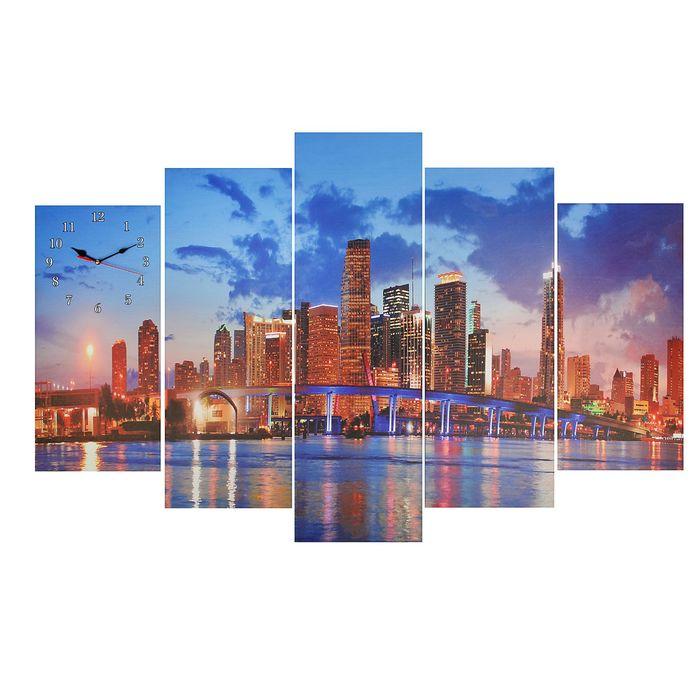 Часы настенные модульные «Ночной город», 80 × 140 см
