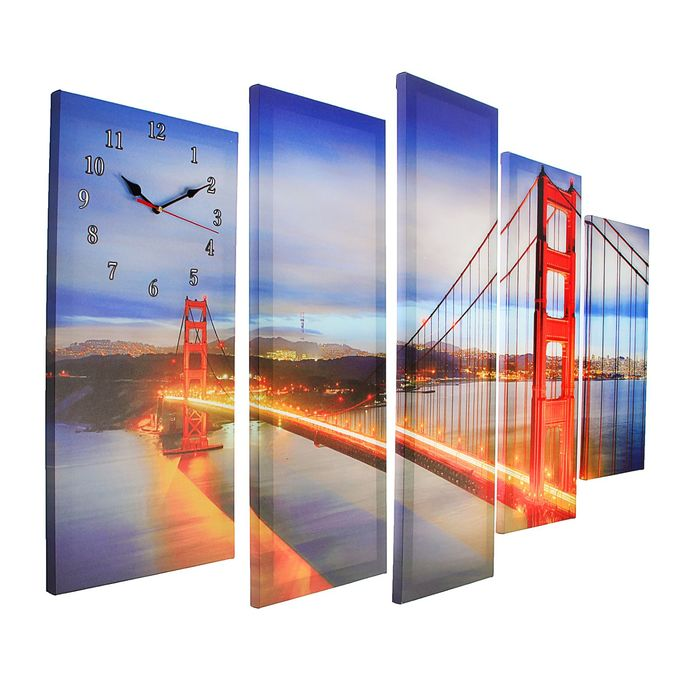Часы настенные модульные «Мост Золотые ворота», 80 × 140 см