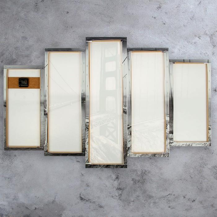 Часы настенные модульные «Мост Золотые ворота. Хром», 80 × 140 см