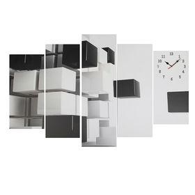 Часы настенные модульные «Чёрно-белая абстракция», 80 × 140 см