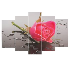 Часы настенные модульные «Розовая роза», 80 × 140 см