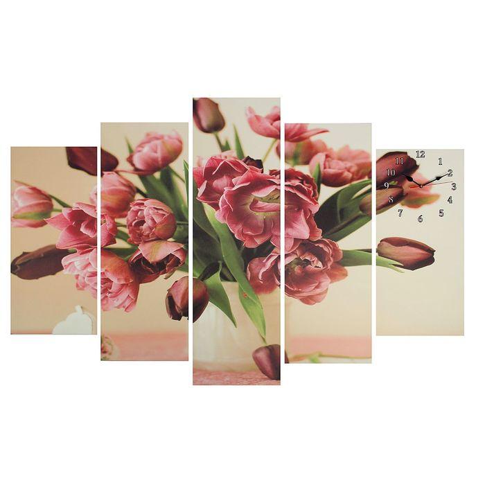 Часы настенные модульные «Бледно-красные тюльпаны», 80 × 140 см - фото 1692176