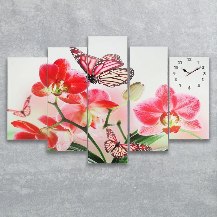 Часы настенные модульные «Орхидеи и бабочка», 80 × 140 см