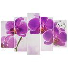Часы настенные модульные «Фиолетовые орхидеи», 80 × 140 см