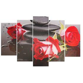 Часы настенные модульные «Красные розы на камнях», 80 × 140 см