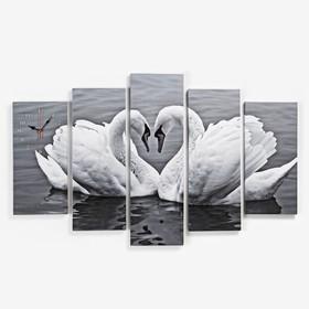 Часы настенные модульные «Пара лебедей. Хром», 80 × 140 см