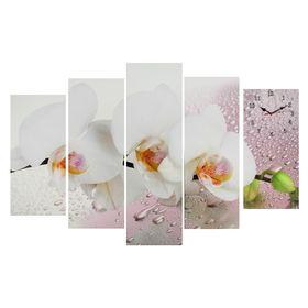 Часы настенные модульные «Белая орхидея», 80 × 140 см