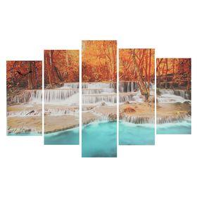 Часы настенные модульные «Лесные водопады», 80 × 140 см
