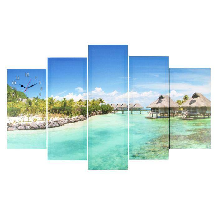 Часы настенные модульные «Тропический рай», 80 × 140 см