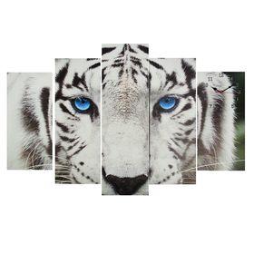 Часы настенные модульные «Белый тигр», 80 × 140 см