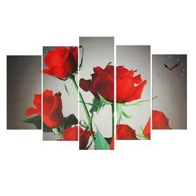 Часы настенные модульные «Красные розы», 80 × 140 см