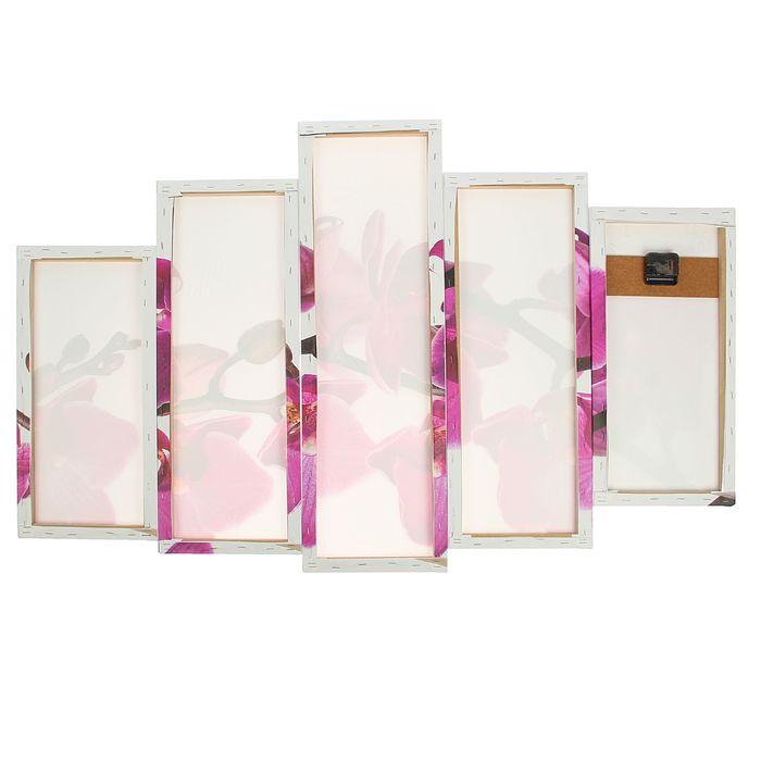 Часы настенные модульные «Фиолетовые орхидеи на белом», 80 × 140 см