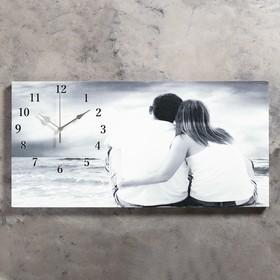 """Часы настенные, на холсте, серия: Люди,""""Влюбленная пара"""", 40х76  см, микс"""