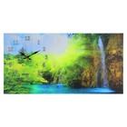 """Часы настенные, серия: Природа, на холсте """"Лесной водопад"""", 40х76  см, микс"""