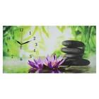 """Часы настенные, серия: Цветы, на холсте """"Цветы и камни"""", 40х76  см, микс"""
