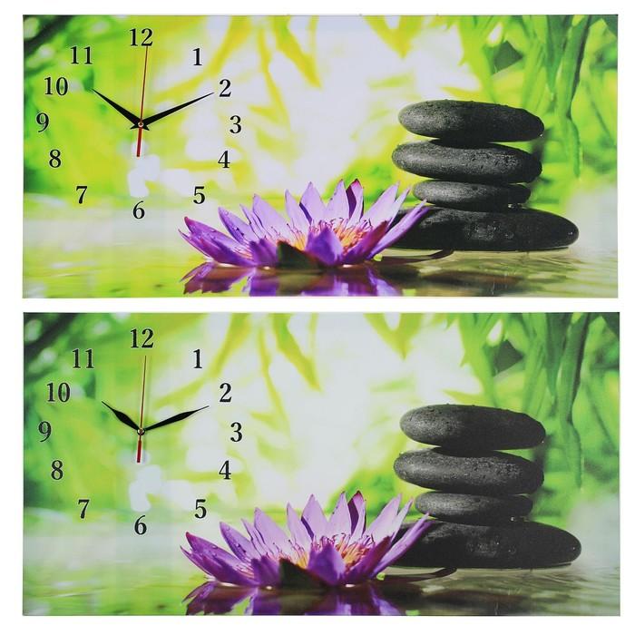 "Часы настенные на холсте ""Цветы и камни"", 40х76 см микс"