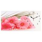 """Часы настенные, серия: Цветы, на холсте """"Розовые герберы"""", 40х76  см, микс"""