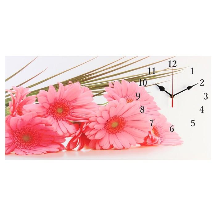 "Часы настенные на холсте ""Розовые герберы"", 40х76 см микс"