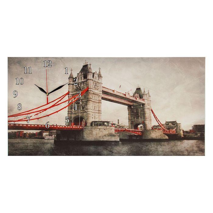 """Часы настенные на холсте """"Тауэрский мост"""", 40х76 см микс"""
