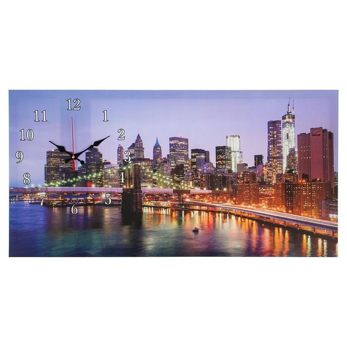 """Часы настенные на холсте """"Бруклинский мост"""", 40х76 см микс"""