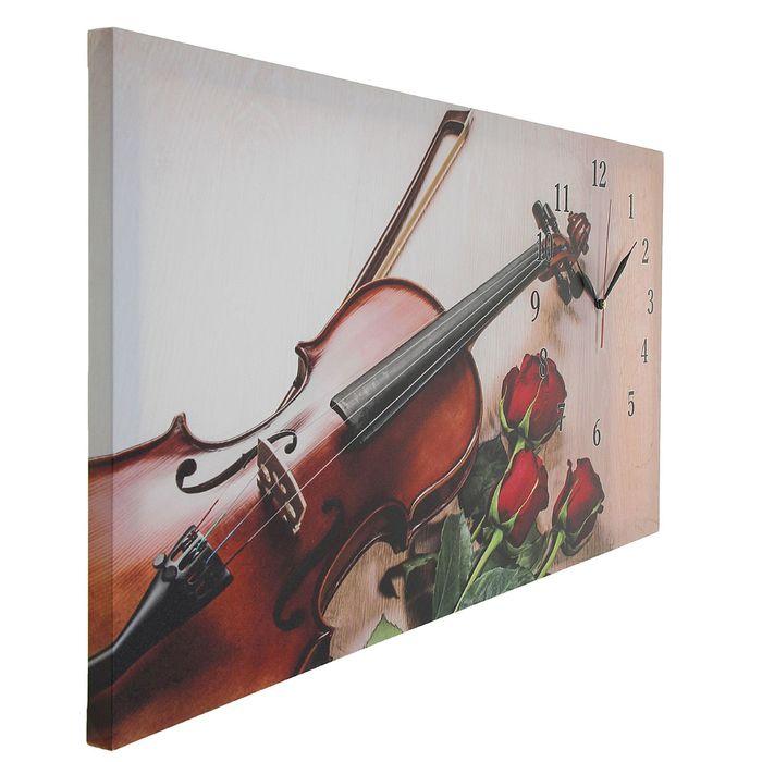 """Часы настенные на холсте """"Розы и скрипка"""", 40х76 см микс"""