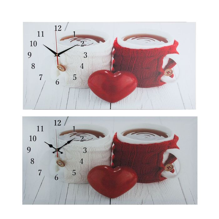 "Часы настенные на холсте ""Кружки влюбленных"", 40х76 см  микс"