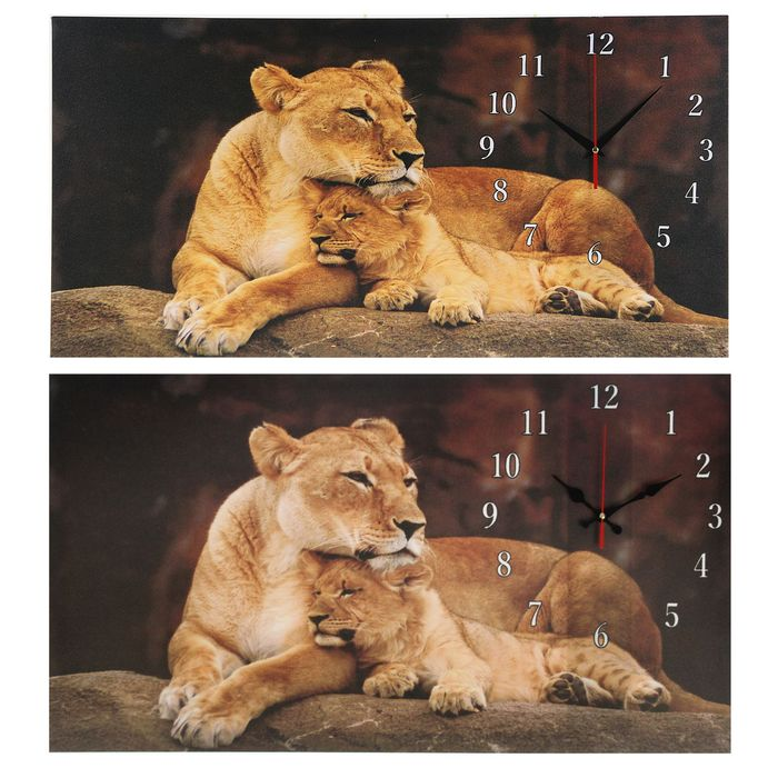 """Часы настенные на холсте """"Львица и львенок"""", 40х76 см  микс"""