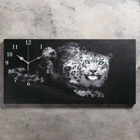 """Часы настенные, на холсте, серия: Животный мир, """"Леопард"""", 40х76  см, микс"""