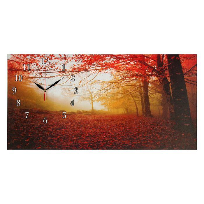 """Часы настенные на холсте """"Осенний лес"""", 40х76 см"""