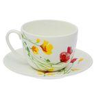 "Чайная пара ""Арина. Цветы-2"": чашка 270 мл, блюдце 14,7 см"
