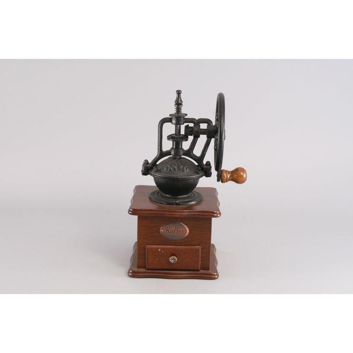 Кофемолка коричневая с колесом, 13 x 13 см