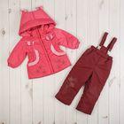 Комплект (куртка, брюки) для девочки, рост 92 см, цвет розовый/бордовый Ш-0142_М