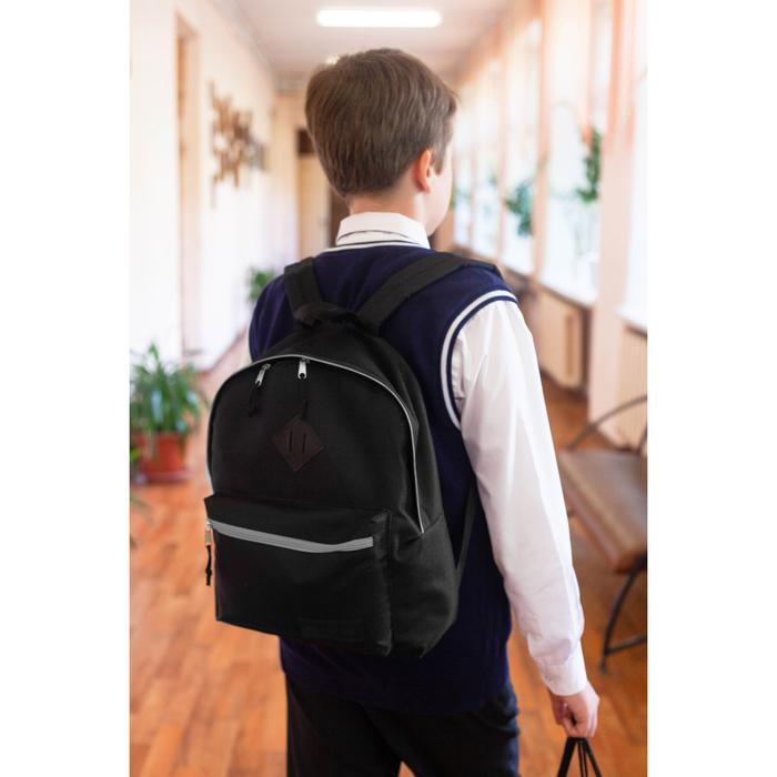 Рюкзак молодёжный, отдел на молнии, наружный карман, цвет чёрный/серый - фото 362053