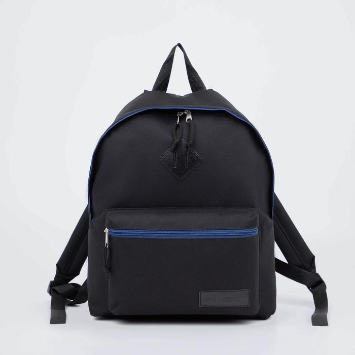 Рюкзак молодёжный. отдел на молнии, наружный карман, цвет чёрный/синий - фото 270982