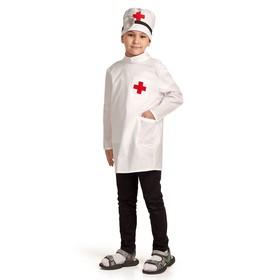 """Карнавальный костюм """"Доктор"""", шапка с инструментом, халат, 3-5 лет, рост 104-116 см"""