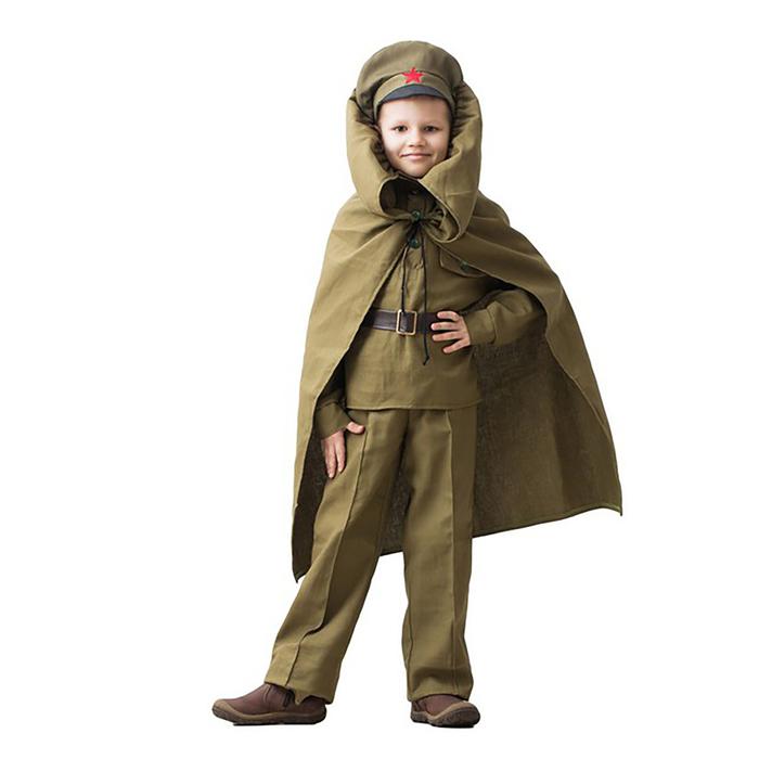 """Костюм военного""""Командир"""", гимнастёрка, ремень, фуражка, брюки, плащ, 3-5 лет, рост 104-116 см"""