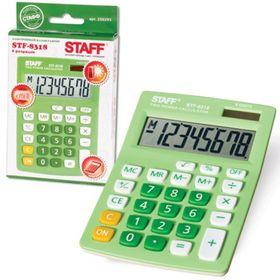 Калькулятор настольный 8-разрядный STAFF STF-8318 зелёный, двойное питание, 145х103 мм в Донецке