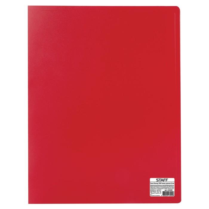 Папка с 20 прозрачными вкладышами А4, 500 мкм STAFF эконом, красная