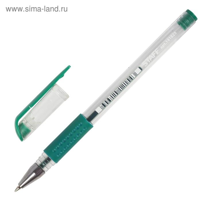 Ручка гелевая STAFF эконом, резиновый держатель, линия 0.5 мм, стержень зелёный