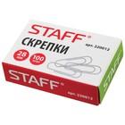 Скрепки канцелярские 28 мм без покрытия, 100 шт., STAFF эконом, картонная коробка 220012