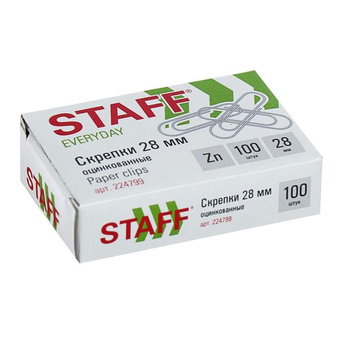 Скрепки канцелярские 28 мм оцинкованные, 100 шт, STAFF, картонная коробка *