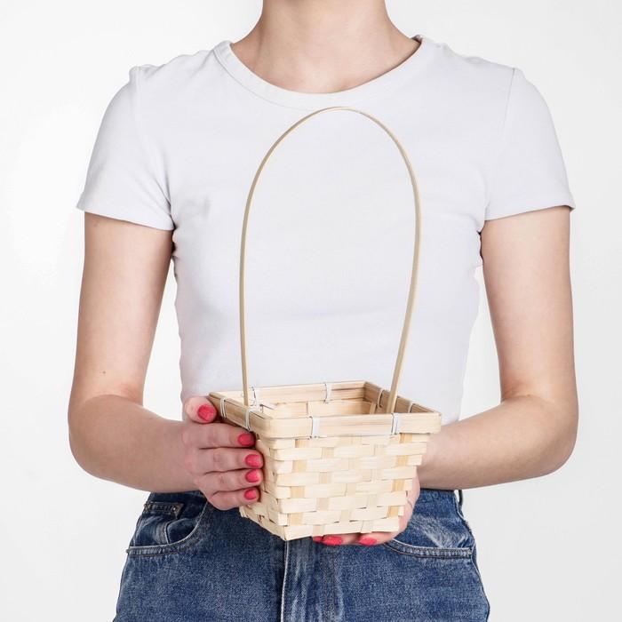 Корзина плетёная, бамбук, квадратная, натуральный цвет
