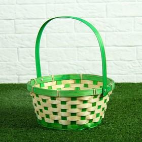 Корзина плетеная (бамбук) D21 H10 HH24 (зеленая) Ош