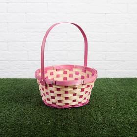 Корзина плетёная, бамбук, круглая, розовая Ош