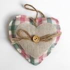 """Мягкая игрушка-подвеска """"Сердце"""" с пуговкой и бантиком, цвета МИКС"""