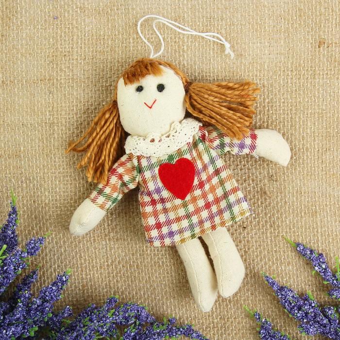 Мягкая игрушка кукла «Анфиса», сердце на платье, с подвеской, цвета МИКС
